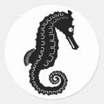 Silueta del Seahorse Etiquetas Redondas