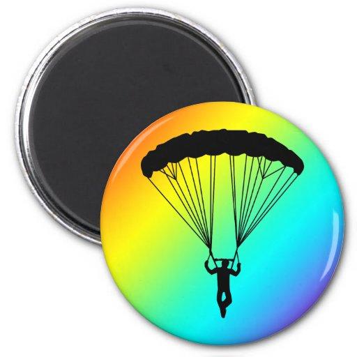 silueta del skydiver imán de nevera
