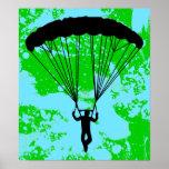 silueta del skydiver impresiones