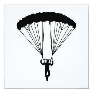 """silueta del skydiver invitación 5.25"""" x 5.25"""""""