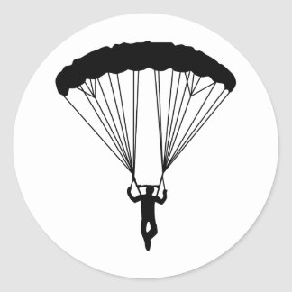 silueta del skydiver pegatina redonda