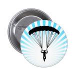 silueta del skydiver pin redondo 5 cm