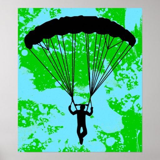 silueta del skydiver póster