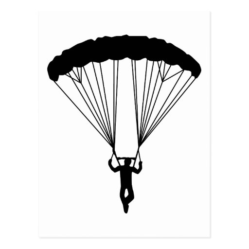 silueta del skydiver tarjeta postal