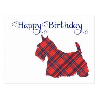 Silueta del tartán de Terrier del escocés Postal