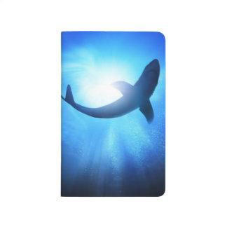 Silueta del tiburón del océano profundo cuadernos