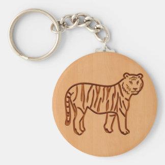 Silueta del tigre grabada en el diseño de madera llavero redondo tipo pin