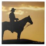 Silueta del vaquero a caballo en la puesta del sol tejas