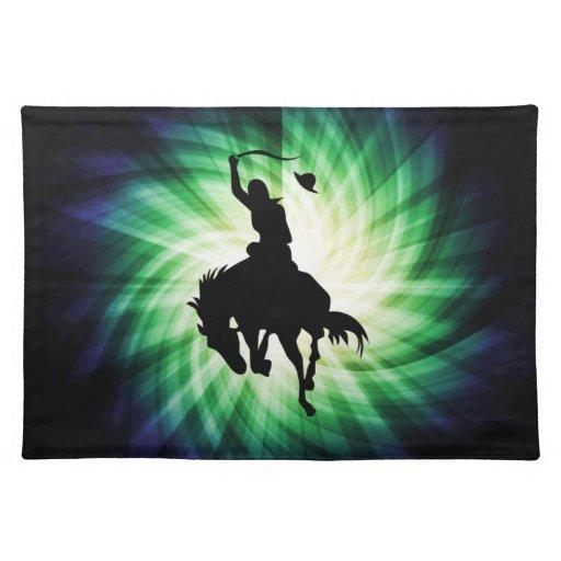 Silueta del vaquero; El brillar intensamente Manteles