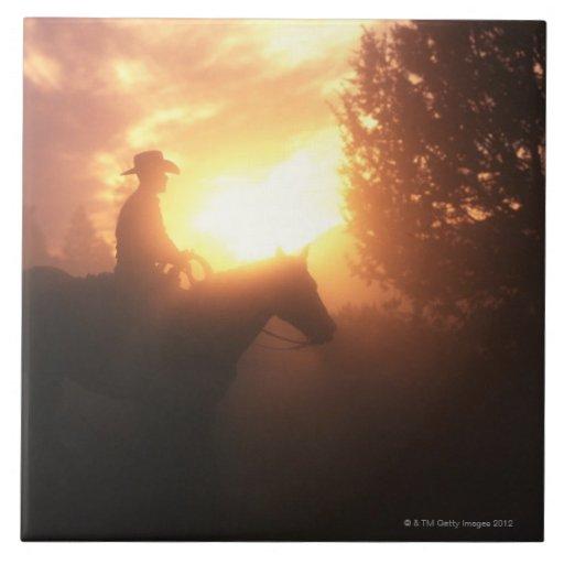 Silueta del vaquero en un caballo azulejo ceramica