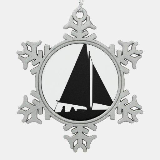 Silueta del velero adornos