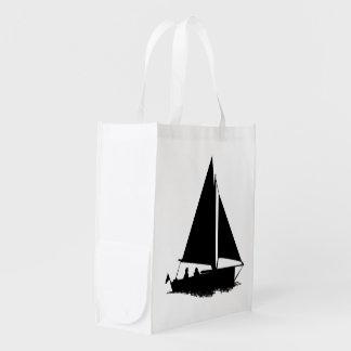 Silueta del velero bolsa para la compra