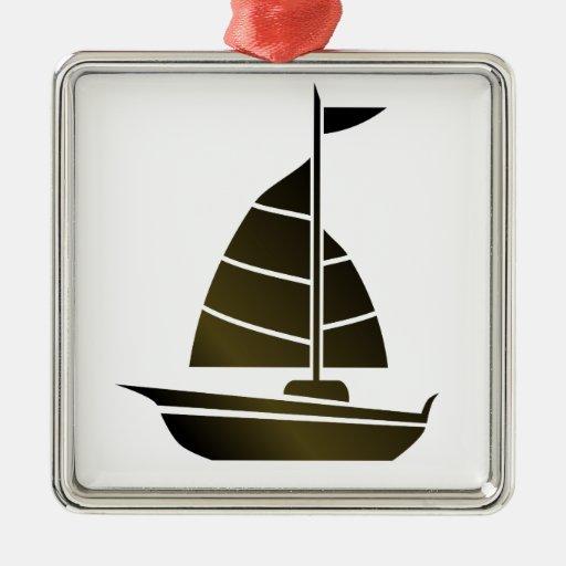 Silueta del velero ornamento para arbol de navidad