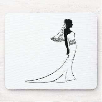 Silueta del vestido de boda de la novia tapetes de ratón