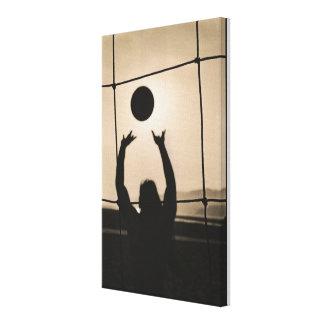 Silueta del voleibol lona envuelta para galerías
