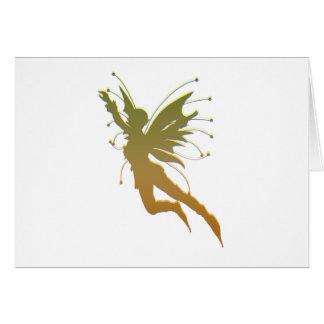 Silueta del vuelo del duende tarjeta de felicitación