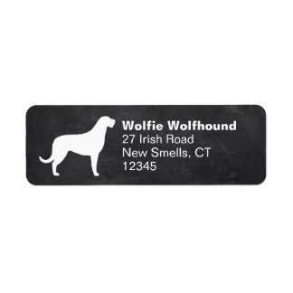 Silueta del Wolfhound irlandés Etiqueta De Remitente