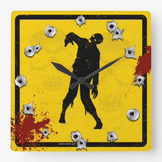 Silueta del zombi en sangre amarilla de la placa reloj cuadrado