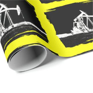 Silueta dual de la unidad de bombeo del aceite papel de regalo