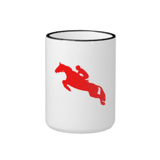 Silueta ecuestre roja del caballo taza a dos colores