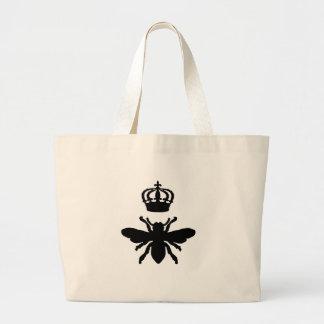 Silueta elegante de la abeja reina del vintage bolsa tela grande