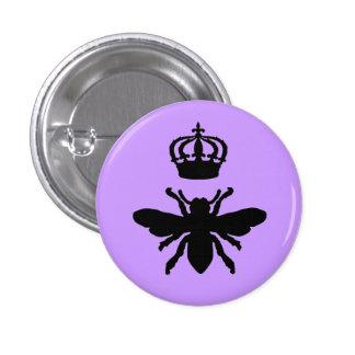 Silueta elegante de la abeja reina del vintage pin redondo 2,5 cm