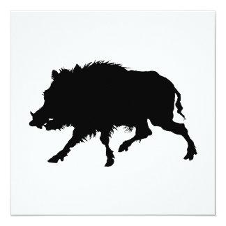 """Silueta elegante del jabalí o del cerdo salvaje invitación 5.25"""" x 5.25"""""""