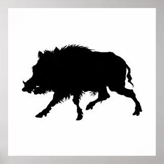 Silueta elegante del jabalí o del cerdo salvaje póster