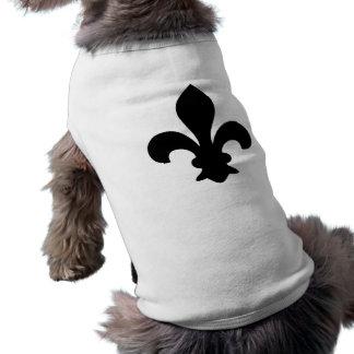 Silueta elegante francesa antigua de la flor de li camisa de perro