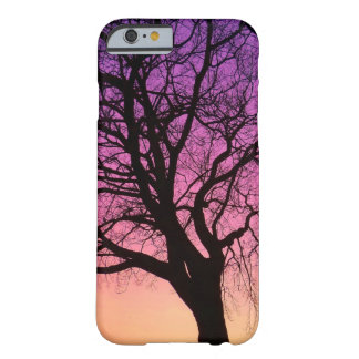 Silueta en la puesta del sol - cubierta del árbol funda barely there iPhone 6