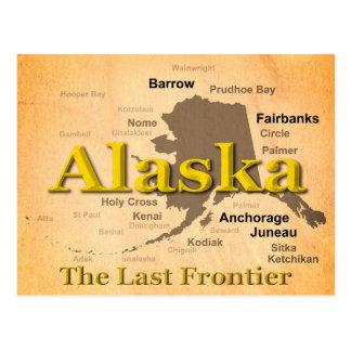 Silueta envejecida del mapa del orgullo del estado postal