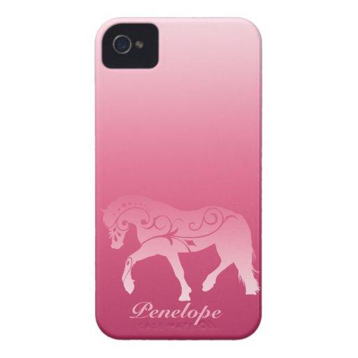 Silueta femenina del caballo de Ombre iPhone 4 Cobertura