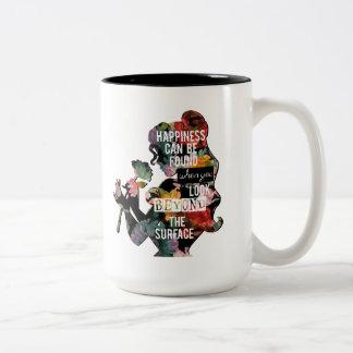 Silueta floral de la belleza de la princesa el | taza de café de dos colores
