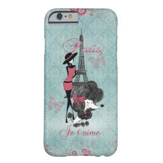 Silueta francesa de los chicas del caniche del funda de iPhone 6 barely there