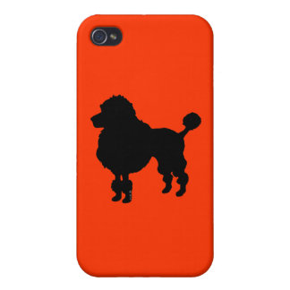 Silueta francesa del caniche (negro) iPhone 4 protectores