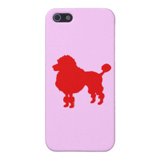 Silueta francesa del caniche (roja) iPhone 5 carcasas