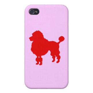 Silueta francesa del caniche (roja) iPhone 4/4S carcasa