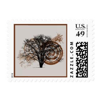 Silueta fresca del árbol del sellos