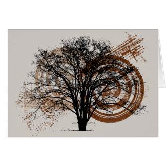 Silueta fresca del árbol del tarjeta de felicitación