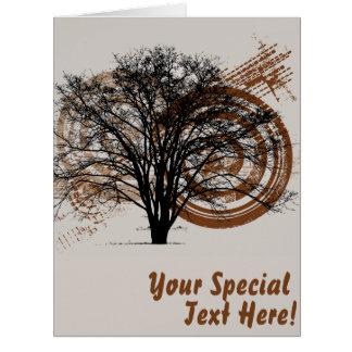 Silueta fresca del árbol del tarjeta de felicitación grande