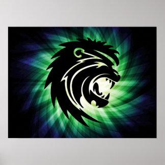 Silueta fresca del león del rugido poster