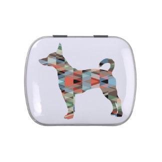 Silueta geométrica colorida del modelo de Terrier Latas De Caramelos