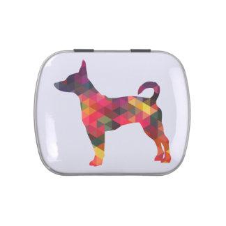 Silueta geométrica colorida del modelo de Terrier Latas De Dulces