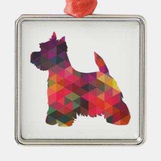 Silueta geométrica colorida del modelo de Westie Adorno Navideño Cuadrado De Metal