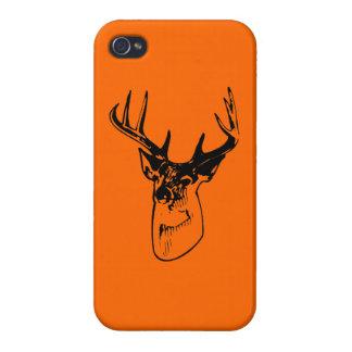 Silueta grande anaranjada del dólar del Whitetail  iPhone 4 Fundas
