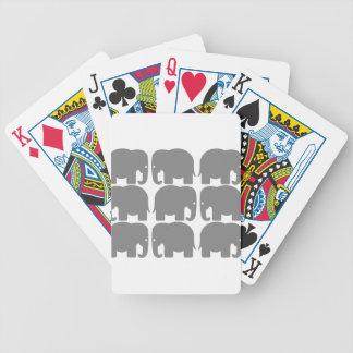 Silueta gris de los elefantes baraja de cartas
