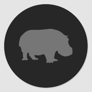Silueta gris del hipopótamo etiquetas