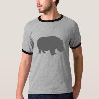 Silueta gris del hipopótamo remeras
