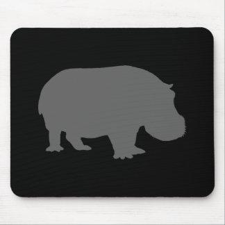 Silueta gris del hipopótamo tapete de ratón