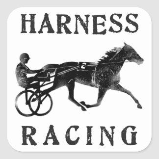 Silueta gris negra del caballo de arnés pegatina cuadrada
